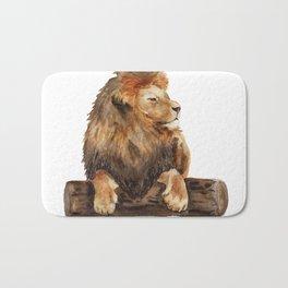 Watercolor lying lion Bath Mat