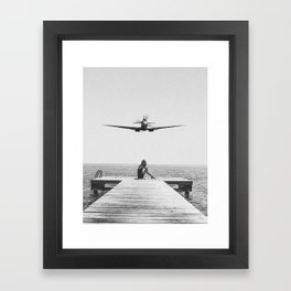 Steady As She Goes; aircraft coming in for an island landing black and white photography- photographs Framed Art Print