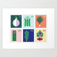 vegetable Art Prints featuring Vegetable Stamps by Christopher Dina