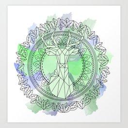 Deer mandala watercolor Art Print