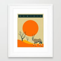 travel poster Framed Art Prints featuring NAMIBIA Travel Poster by Jazzberry Blue