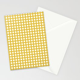 Grid Pattern 311 Mustard Yellow Stationery Cards