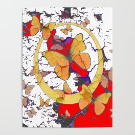 YELLOW  BUTTERFLIES IN WHITE & RED ABSTRACT Poster