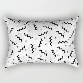 Old School Retro Funky Memphis 80's Pattern Black White Grey Pink Rectangular Pillow