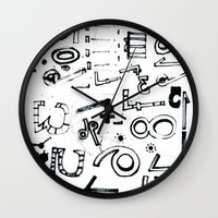 typo Wall Clocks featuring TYPO CHAOS by Michela Buttignol