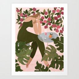 Brunch in the rose garden Art Print