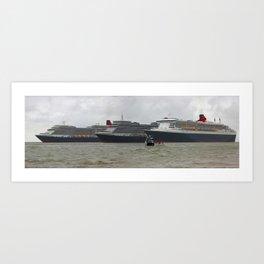 Cunard's Three Queens (Digital Art) Art Print