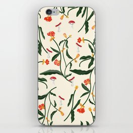 Mushrooms and Flowers Hanging Out iPhone Skin