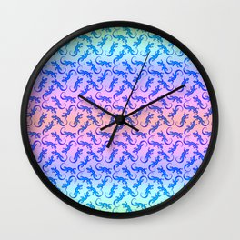 Beautiful delicate blue artistic crawling little lizards. Reptile lover. Gift ideas for animal lover Wall Clock
