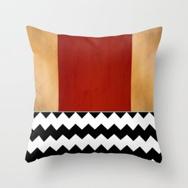 Shiny Copper Crimson Red And Black And White Chevron Pattern Throw Pillow
