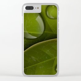 dew drops on green leaves Clear iPhone Case
