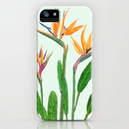 bird of paradise flower painting iPhone Case