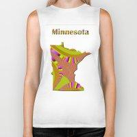 minnesota Biker Tanks featuring Minnesota Map by Roger Wedegis