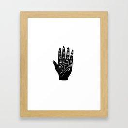 Linocut Hand palm reading minimal black and white palmistry fortune teller Framed Art Print