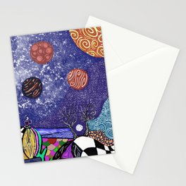 Planets and doodles  Stationery Cards