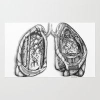 lungs Area & Throw Rugs featuring I am Human- Lungs by Sayrise