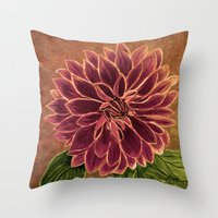 dahlia Throw Pillows featuring Dahlia  by maggs326