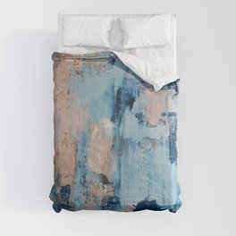Sunbeam: a pretty abstract painting in pink, blue, and gold by Alyssa Hamilton Art Comforters