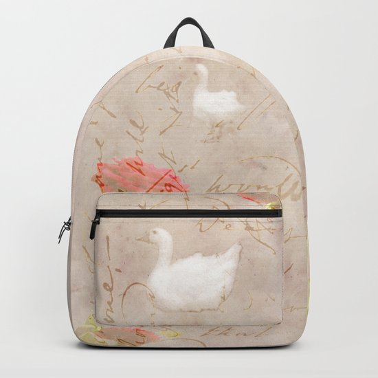 Geese, clouds, roses, vintage calligraphy Backpack
