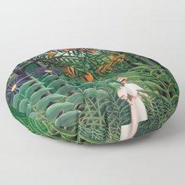 Henri Rousseau - Woman Walking in an Exotic Forest Floor Pillow