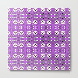 startled skulls in love purple / pink doodle Metal Print