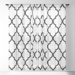 Classic Quatrefoil Lattice Pattern 321 Black and White Sheer Curtain
