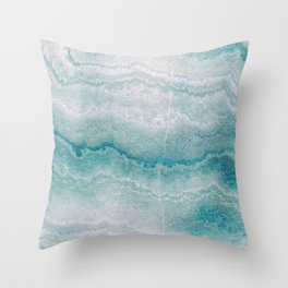 Sea green marble texture Throw Pillow