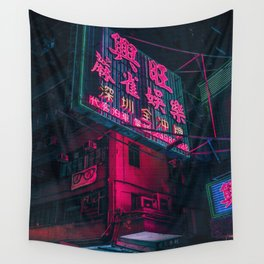Neon Night in Tokyo Wall Tapestry