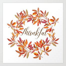 Thankful wreath  Art Print