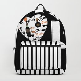 Valentine's day . Love. Black and white striped background . Backpack