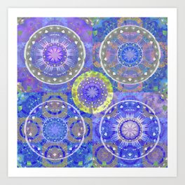 Color Therapy Indigo Cooling Boho Mandala Patchwork Print Art Print