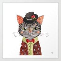 oana befort Art Prints featuring COOL CAT by Oana Befort