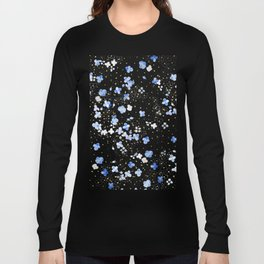 blue abstract hydrangea pattern Long Sleeve T-shirt
