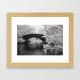 Snow at Bow Bridge Framed Art Print