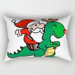 santa and dino Rectangular Pillow