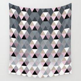 Geometric Prisme Pattern - Pink & Grey Wall Tapestry