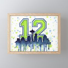 Seattle 12th Man Art Skyline Watercolor Framed Mini Art Print