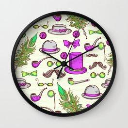 Retro gentlamen pattern Wall Clock