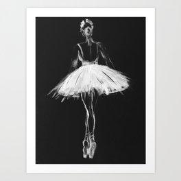 Ballerina black white, pastel on black paper Art Print