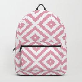 Pink and white ethnic tribal zig zag rhombus pattern Backpack