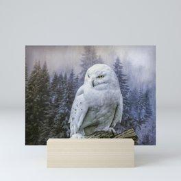 Snowy owl in mist Mini Art Print