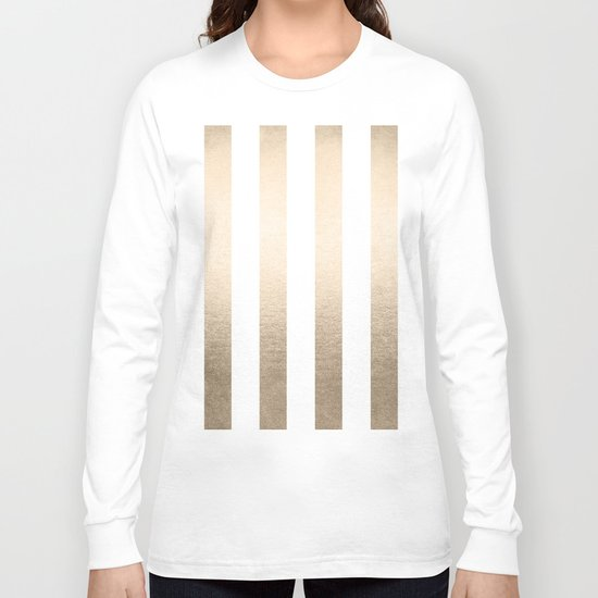 Simply Vertical Stripes in White Gold Sands Long Sleeve T-shirt