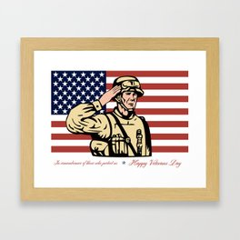 Happy Veterans Day Greeting Card Soldier Salute Framed Art Print