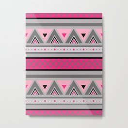 Modern Southwestern Geometric, Pink & Gray / Grey Metal Print
