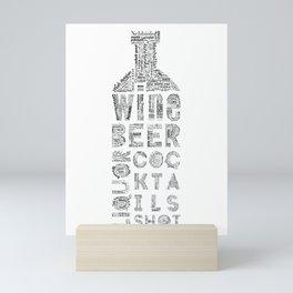 Bottle Drinks Tag Cloud Mini Art Print