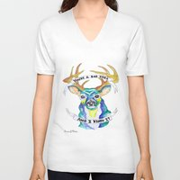bad idea V-neck T-shirts featuring Candy Hearts lyrics Bad Idea Deer by Malice In Wonderland