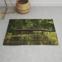 Small bridge in a city garden, trees, lake, pond, St. Petersburg (Russia) (2018-7SPB57) Rug