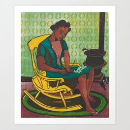 The Yellow Rocker Woodblock Art Art Print