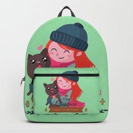 Happy Girl Hugging Her Cat. Backpack