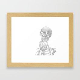 Thinking Skeleton (Black and White) Framed Art Print